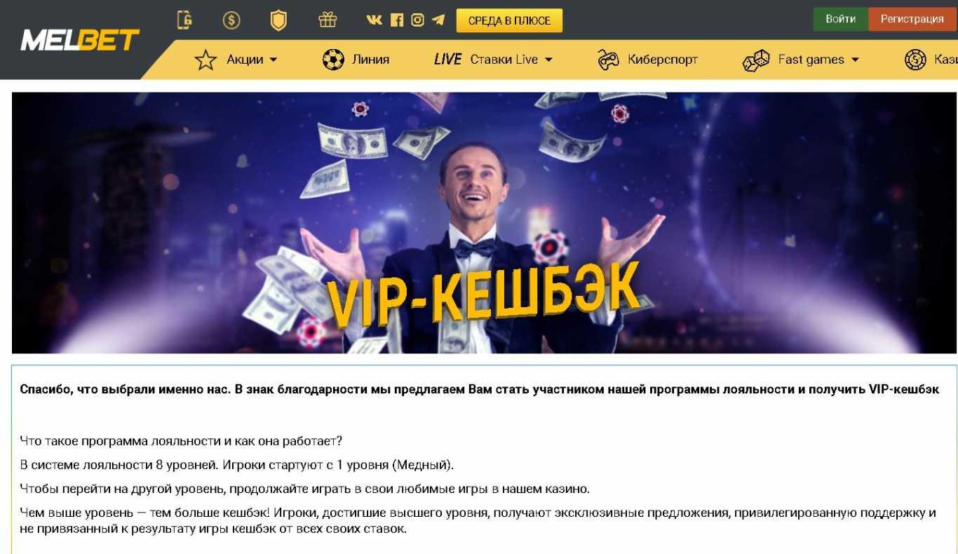 Мелбет вип-кешбэк